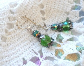 Peridot Glass Beads, AB Faceted, Czech Fire Polished, Serling Silver Earwires, Green Earrings, Sparkle, Hand Wrapped