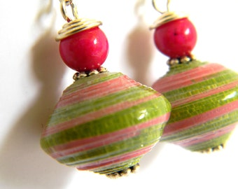 Paper Bead Jewelry - Earrings Large Saucers - #1448