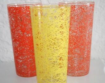 Neon Bright Trio of Orange and Yellow Spaghetti Glasses