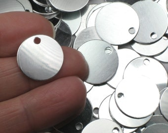 "11/16"" Stamping Blanks, 20+ Shiny 22 Gauge Anodized Aluminum Discs with one 3mm Hole"