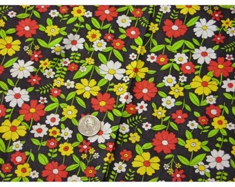 Floral Fabric Bright Red Yellow Green White on Black Background Dress Weight Vintage Hot Colors