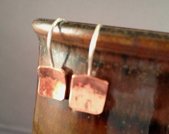 Geometric Copper and Silver Earrings