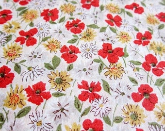 Japanese Fabric Cotton Voile - Wildflowers in Red and Yellow - Fat Quarter - Kokka Fabric From Japan LIMITED YARDAGE