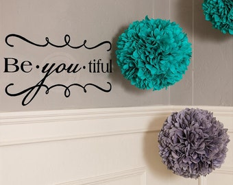 Be-you-tiful Wall Decal (M) vinyl lettering sticker