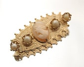 Small Vintage Cameo Brooch Carved Shell Rhinestones Gold Tone Pin Broach