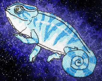Blue Panther Chameleon Iron on Patch