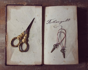 Bespoke. Whimsical Petite Antiqued Brass Scissor Charm and Antiqued Copper Earrings.