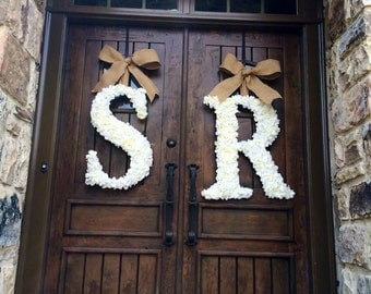 24 Inch Floral Monogram Letter Initial Wedding Door Wreath (SET OF 2)