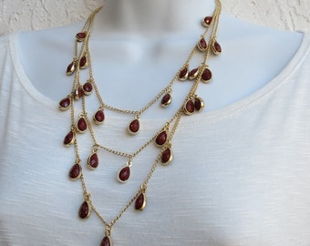 Multi Chains Bib Necklace & Earring SET, Dangling Beads Chain Necklace Deep Red Gold Plated Multi Chains, Fashion SET