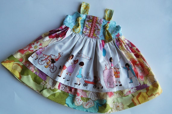 Girls Children At Play Apron Dress LAST ONE