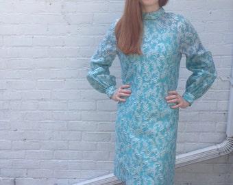 1960s Dress Vintage Sky Blue Sparkle Brocade Mod