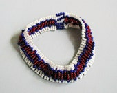 Red White and Blue Zulu Fingo Chain Beadwoven Bracelet ~Beadwoven Bracelet~Patriotic~ Bracelet~Summer Bracelet~Zulu Bracelet~BangleBracelet