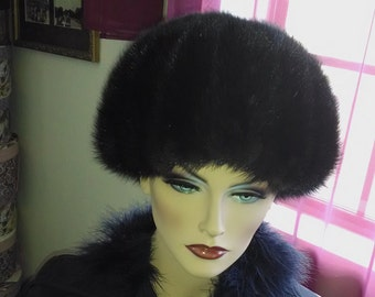 """Hat Mink fur Small to Medium  Size 20""""  diam Excellent Condition Fancy and Elegant as Hollywood Movies"""
