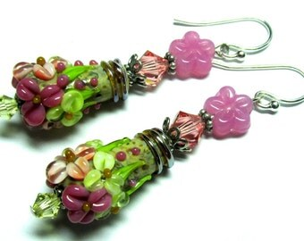 Flower Earrings, Lampwork Earrings, Handmade Earrings, Glass Earrings, Floral Earrings, Cone Earrings, Lampwork Jewelry, Handmade Jewelry
