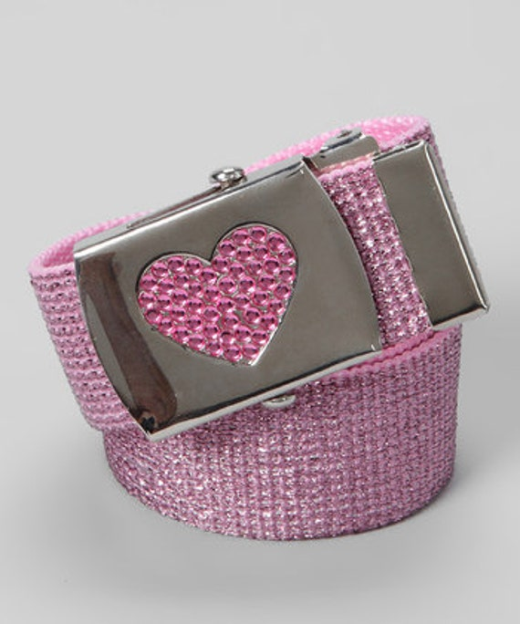 GIRLS pink metallic Rhinestone heart buckle belt - can come on any color belt strap