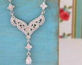 Art Deco Silver Cubic Zirconia  Bridal Necklace