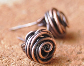Rose bud earrings, Posts, Oxidized copper, Wire jewelry
