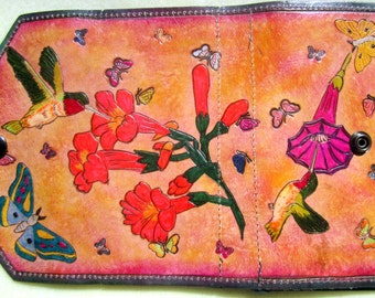 OOAK Clutch Wallet with Hand Carved Hand Painted Flowers Hummingbirds and Butterflies  Made in GA USA