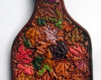 Leather Key Fob with Colorful Leaves and Brown Border Made in GA USA