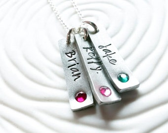 Personalized Jewelry - Hand Stamped Birthstone Mother's Necklace - Name and Birthstone Tag Necklace - Mother's Day Gift - Gift for Mom