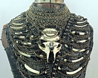 Skull and Chain Ribcage Breast Plate Body Armor