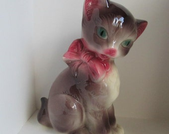 Large Vintage Ceramic Cat with Pink Bow
