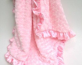 Pink Rose Swirl Baby Blanket