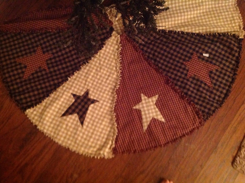 Raggy Primitive Americana Christmas Tree Skirt