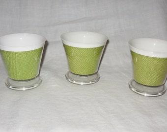 3 Vintage Dessert Dishes Lime Green Termal Burlap