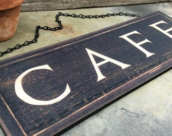 Cafe Sign, Rustic Wall Decor, Shop Decor, Coffee Shop, Wall Sign, Word Art
