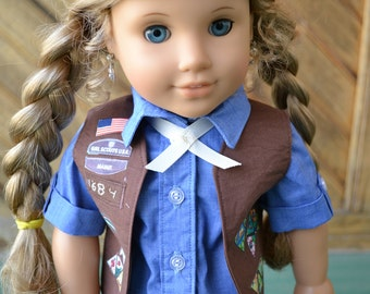 18 inch Doll Clothes - Brownie Scout Uniform - SASH/VEST ONLY - made to order - brown blue - fits American Girl