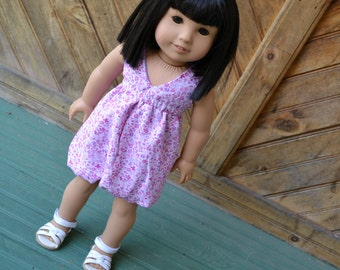 18 inch Doll Clothes - Pretty Flowers Bubble Salina Dress - pink purple - fits American Girl