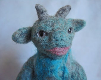 SALE: Wee Beastie - Dee the Goblin - Needle Felted Pocket Monster