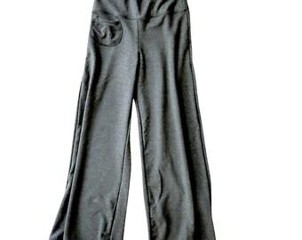Organic cotton lounge pants, custom made clothing, long wide leg pants, yoga pants, organic handmade pants, grey sweatpant, more colors