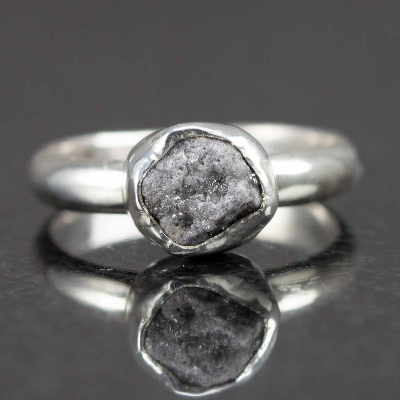 Raw Diamond Engagement Ring Palladium Sterling Uncut Diamond