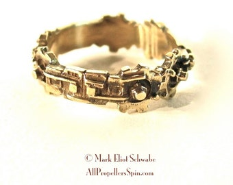 SteamPunk sweetheart ring - wedding band narrow brass - ONLY ONE LEFT