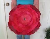 Extra large metal Flower wall art red hibiscus reclaimed metal wall flower burgundy rose indoor outdoor