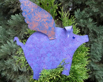 Christmas tree topper metal art when pigs fly blue purple gold 9 x 11