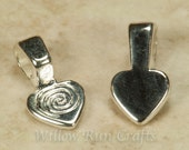 50 Small Shiny Silver Plated Heart Bails (07-06-290)
