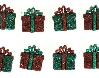 Glitter Present Buttons, Jesse James Buttons Set of 8 Flatback Buttons, Christmas Buttons