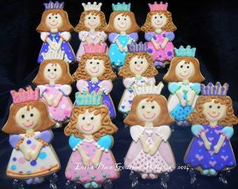 Princess Cookies - Princess Girl Cookies - 12 Cookies