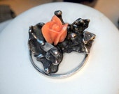 Coral Rose Pendant - Sterling Silver Free Form - Unusal Setting - One of a Kind