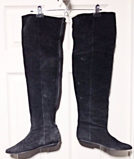 vintage 80s clicks black suede otk thigh high boots by