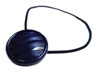 Navy Blue Glass Ponytail Holder, Elastic Hair Tie and Braid Keeper, Vintage Czech Glass Button Resyled as Hair Accessory, Dark Blue Stripes