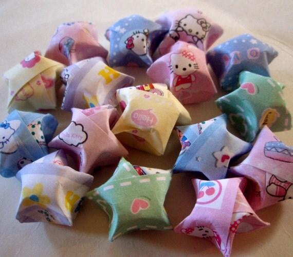 Origami Stars - 16 Kawaii Sweet Kitty Origami Lucky Stars - Set 2 of 2 - Pastel Lucky Wishing Stars