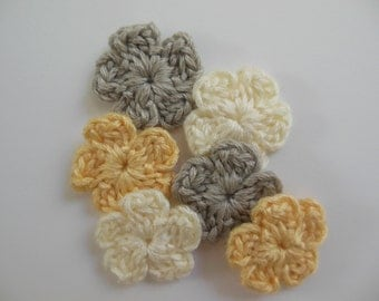 Crocheted Flowers - Silver, Cream and Yellow - Bamboo Yarn - Crocheted Flower Appliques - Crocheted Flower Embellishments