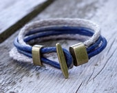 Leather Linen Bracelet - Nature Touch Blue - Unisex - Man Jewelry - Natural Jewelry - Surfers Style