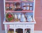 Dollhouse Kitchen Hutch,  Miniature  Dresser,  Apple themed, filled, Twelfh scale, dollhouse miniature