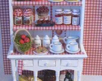 Dollhouse Kitchen Hutch,  Miniature  Dresser,  Apple themed, filled, Twelfh scale, dollhouse miniature