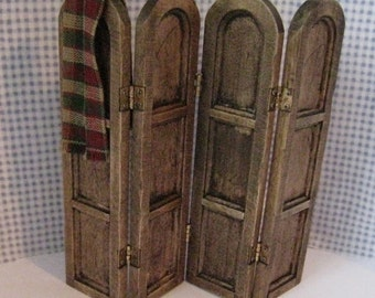 Dollhouse Screen, dark oak twelfth scale, dollhouse miniature